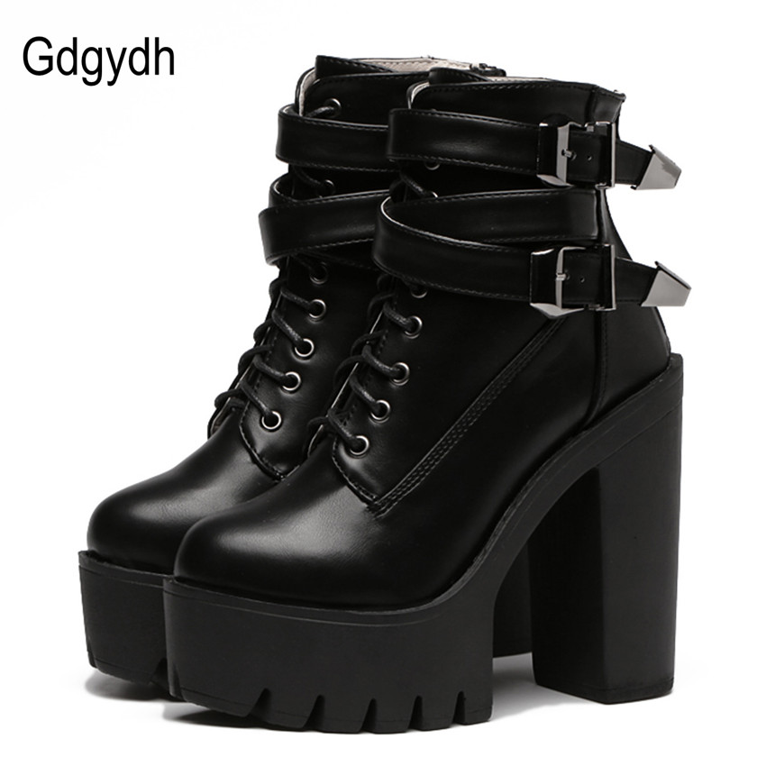 Gdgydh 2018 Autumn Fashion Women Boots High Heels Platform Buckle Lace Up Leather Short Booties Black Ladies Shoes Good Quality