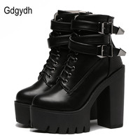 Gdgydh 2017 Spring Fashion Mujeres Botas Tacones Altos Plataforma Hebilla de Encaje Hasta Botines Cortos de Cuero Negro Zapatos de Las Señoras de la Buena Calidad