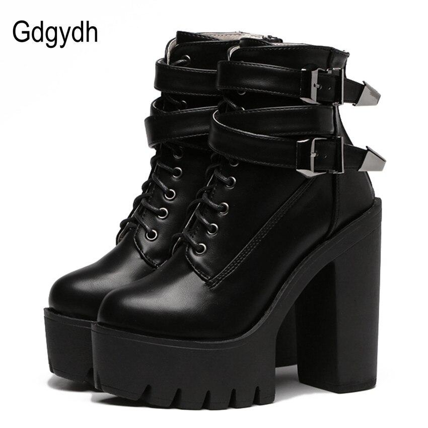 Gdgydh Printemps Automne Mode Femmes Bottes talons hauts Plate-Forme de Boucle à lacets En Cuir Courtes Bottines Noir chaussures dames Promotion