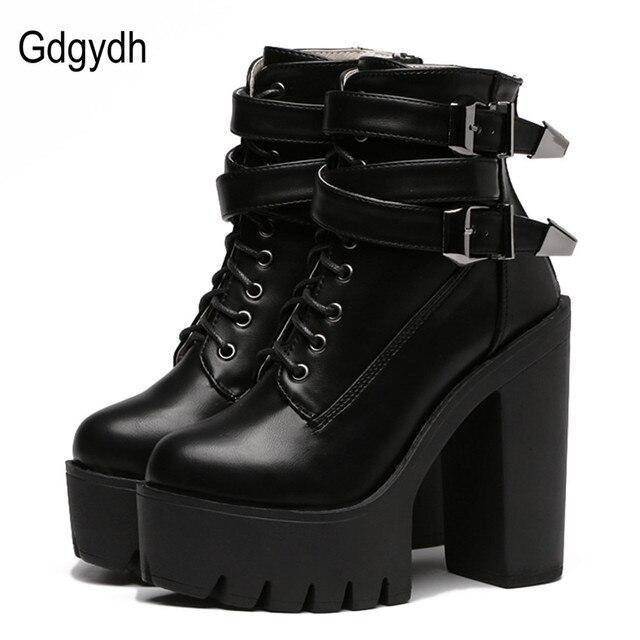 Gdgydh de primavera y otoño de las mujeres de la moda botas de tacón alto plataforma con hebilla de cuero corto Zapatos negro zapatos de mujer zapatos de promoción