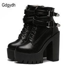 Gdgydh/Модные женские ботинки; Сезон весна осень; Кожаные короткие ботинки на высоком каблуке и платформе с пряжкой на шнуровке; Женская обувь черного цвета; Акция