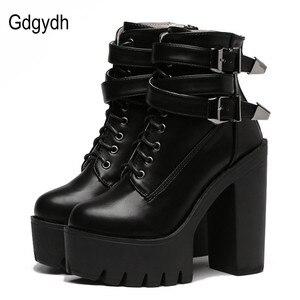 Image 1 - Gdgydh/Модные женские ботинки; Сезон весна осень; Кожаные короткие ботинки на высоком каблуке и платформе с пряжкой на шнуровке; Женская обувь черного цвета; Акция