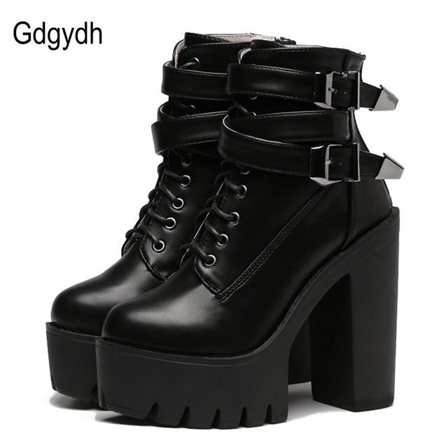 Gdgydh ฤดูใบไม้ผลิฤดูใบไม้ร่วงแฟชั่นผู้หญิงรองเท้ารองเท้าส้นสูงหัวเข็มขัด Lace Up หนังสั้น Booties สีดำสุภาพสตรีรองเท้าโปรโมชั่น