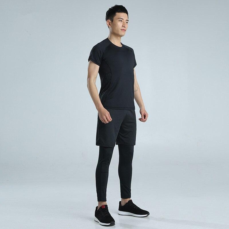 Hombres deportes traje Correr set jogging entrenamiento ropa Trajes gimnasio  fitness sudadera Medias Pantalones cortos Leggings pista Trajes  transpirable en ... 06b41e2cda503