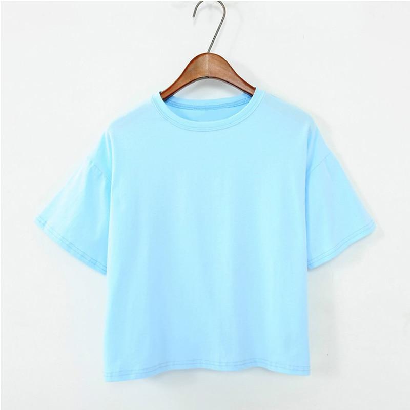 11 colores 2018 estilo del verano camiseta de las mujeres de las mujeres tops de color caramelo moda suelta salvaje o-cuello del color sólido camiseta femenina camisetas