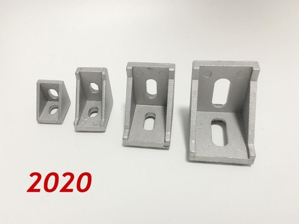все цены на 50pcs/lots 2020 corner fitting angle aluminum 20 x 20 L connector bracket fastener match use 2020 industrial aluminum profile онлайн