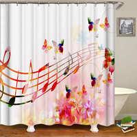 Musical Note Pattern Shower Curtain Waterproof Polyester Bape Bathroom Curtain With 12 Hooks Bath Curtains For Bathtub Art Decor