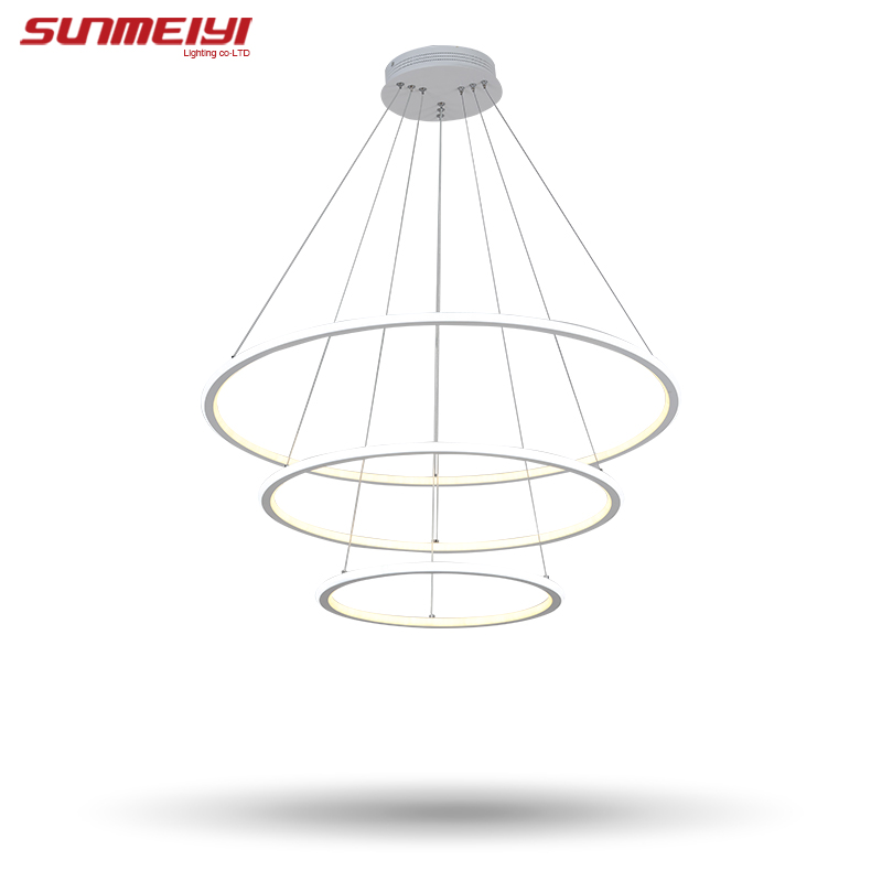 Modern LED living dining room pendant lights suspension luminaire suspendu led ring lighting lamp fixture de techo colgante modern led pendant lights for dining living room hanging circel rings acrylic suspension luminaire pendant lamp lighting lampen