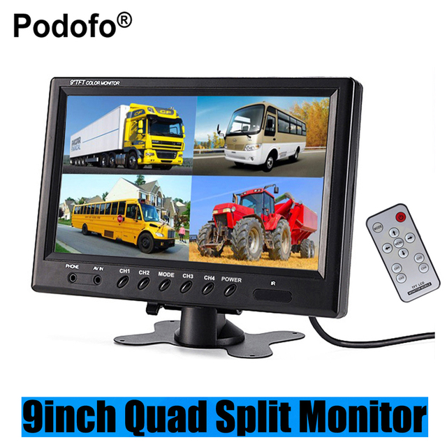 "Podofo 9"" TFT LCD Car Monitor Headrest Display Support 4 Split Screen For Rear View Camera DVD VCR + Remote Control Car-styling"
