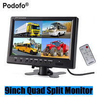 Podofo 9 TFT LCD Car Monitor Headrest Display Support 4 Split Screen For Rear View Camera DVD VCR + Remote Control Car styling
