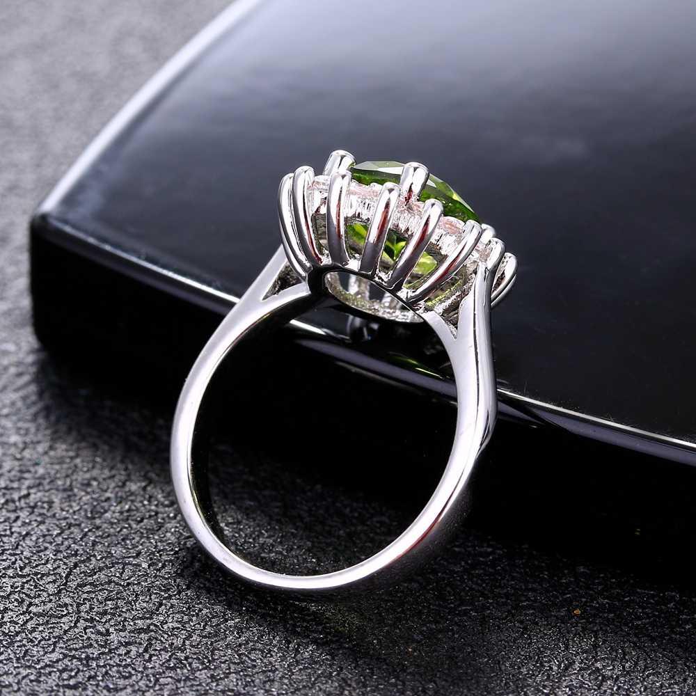 ดอกไม้แหวนเงินหิน Peridot Shining Luxury งานแต่งงานเครื่องประดับแหวนผู้หญิง 925 แหวนขาย