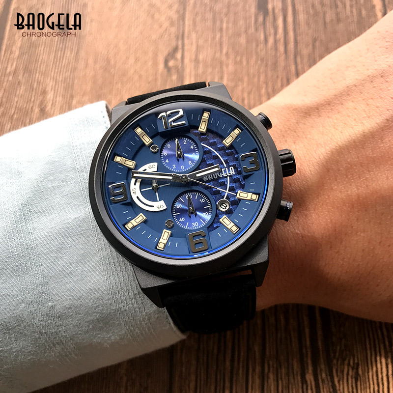 Baogela Men's Chronograph Quartz Watches Casual Leather Strap Analogue Display Wristwatch For Man Boys Waterproof 1709G-1