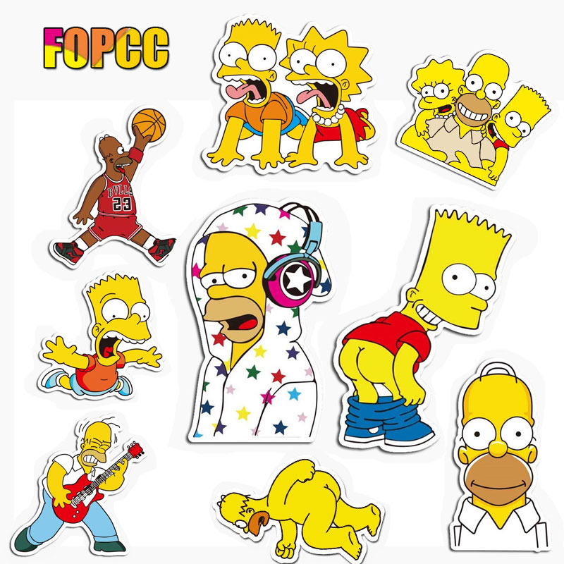 The Simpsons Stickers Funny For Children Kids Laptop Moto Car Guitar Luggage Skateboard Bicycle Waterproof PVC Stickers
