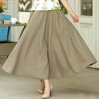 Free Shipping Blend Linen Long Skirt Spring Summer Skirts Chinese Style Bohemian Dark Khaki Skirts Casual