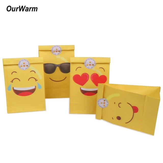OurWarm 12pcs Emoji Paper Bags Party Favors Yellow Birthday Gift For Kids And Stickers