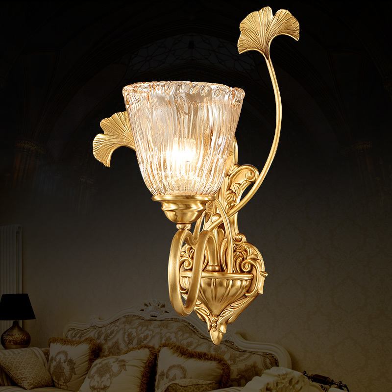 Европейский стиль wal домашнего освещения комнаты Огни Медный Американский минималистский спальня ночники украшения проход крыльцо LU80371