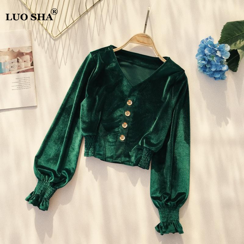 LUOSHA Women Spring Autumn V Neck Lantern Sleeve Velvet Blouse And Crop Tops Fashion Single Buttons Velour Tunic Waist Shirts Велюр