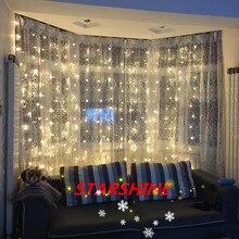 3 м x 3 м 300 светодиодный теплый белый Рождественский Декоративный Рождественский гирлянда сказочные гирлянды вечерние гирлянды для свадьбы