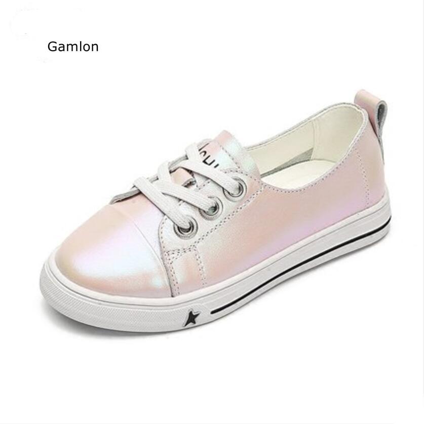 Gamlon Childern Turnschuhe 2017 Neue Herbst Wohnungen Für Mädchen Und Jungen Bord Schuhe Aus Echtem Leder Weiße Schuhe Für Kinder