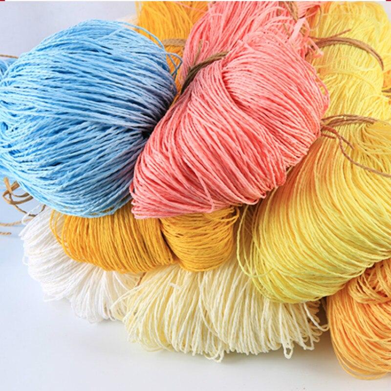 Image 2 - 2019 Hot Summer Hat Yarn Yarn for Knitting 500 G/lot Raffia Straw Yarn Crocheting Yarn for Handmade Hats Baskets HandcraftsYarn   -