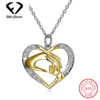 925 Sterling Silver Jewelry Heart shaped White Zircon Diamond Pendant Necklace for Women Hot O Word Chain Fine Jewelry Geometric