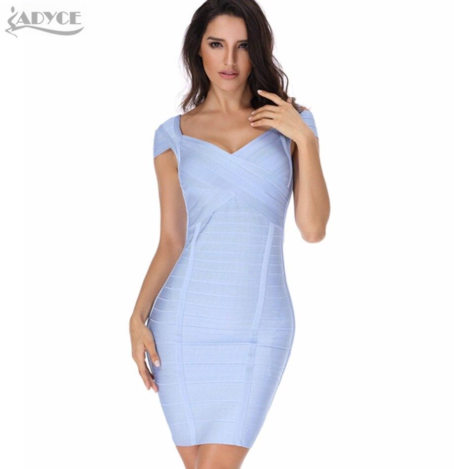 2018 Nouvelle Robe d été Femmes Robe de Soirée Sexy kaki bleu clair bleu  foncé Élégant épaules tombantes Célébrité Piste Moulante robe 521127a20878