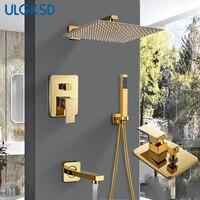 ULGKSD Bathroom Shower Faucet Shower Head Gold Stainless Steel Wall Mount W/ Hand Shower Para Bath Shower Mixer Water Tap