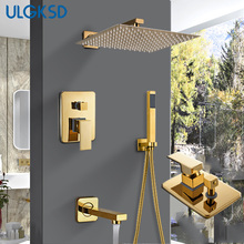 ULGKSD Bathroom Shower Faucet Shower Head  Gold Stainless Steel Wall Mount W/ Hand Shower Para Bath Shower Mixer Water Tap