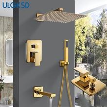 Ulgksd Badkamer Douche Kraan Douchekop Gold Rvs Wall Mount W/Handdouche Para Bad Douche Mixer Water tap