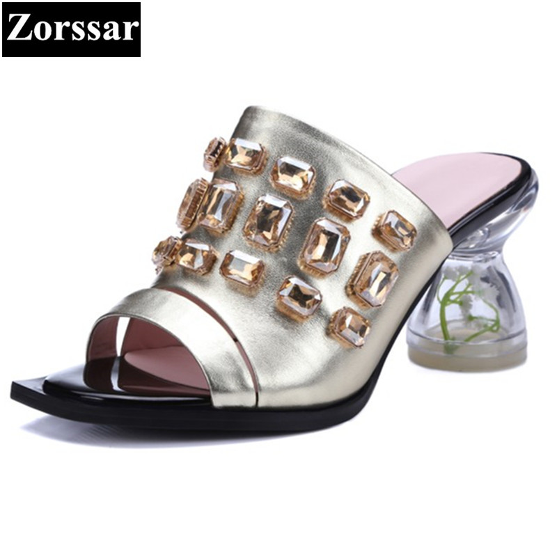 bonjomarisa colorful rhinestone heels summer shoes for woman 2017 elegant white slippers chunky heels party wedding women shoes Summer Shoes Woman fashion Rhinestone high heels sandals women Flip flops slippers high quality Genuine leather womens Slides