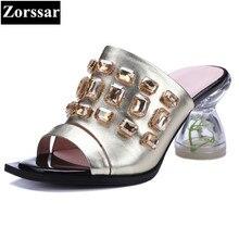Summer Shoes Woman fashion Rhinestone high heels sandals women Flip flops slippers high quality Genuine leather womens Slides