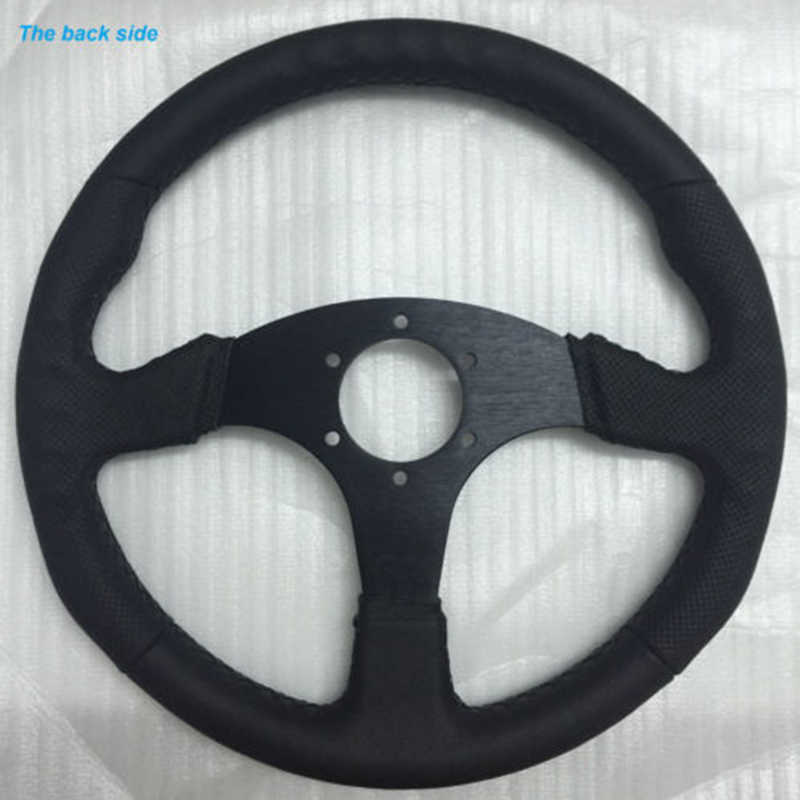 14 Stitching Leather Flat Steering Wheel For Racing OMP Drifting Rally HKB MOMO
