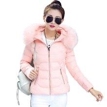 Manteau Femme Pink Winter Jacket Women Fur Collar Abrigos Mujer Coat Parka 2017 Womens Jackets and Coats y chaquetas invierno