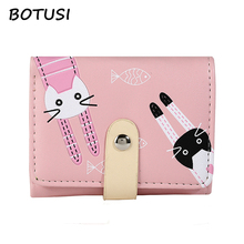 BOTUSI Carton Cat Women PU Leather Wallet Holder Credit Card Passcard Pocket Photo Coin Candy Ladies Purse