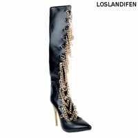 Loslandifen New Hot Sale Ladies Womens Fashion Handmade 11cm High Heel Chains Knee Boots Pointed toe Hocky Sexy Shoes XD158