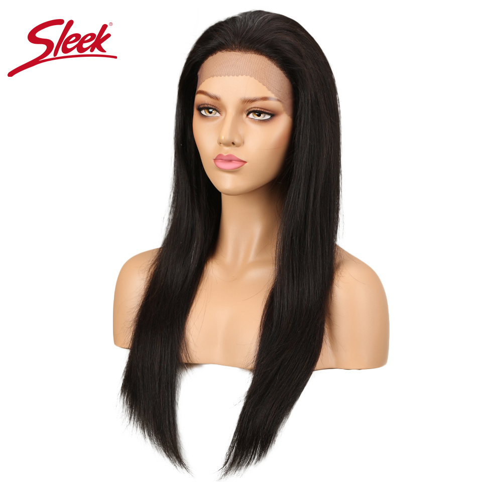 Sleek  Brazilian Remy Straight Hair Wig For  Black Women 4x4 Lace Front Human Hair Wigs Natural 10 14 18 20 Inch Free Shipping