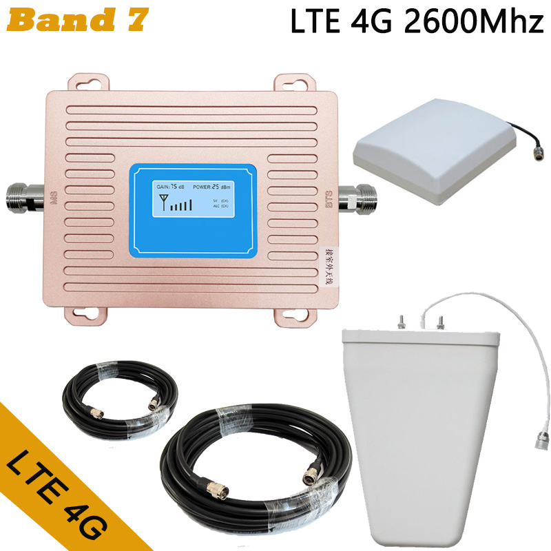 Full Set LTE 4G FDD 2600mhz Band 7 Cell Phone Booster Mobile Phone Signal Repeater With LCD Display With Indoor Panel Antenna
