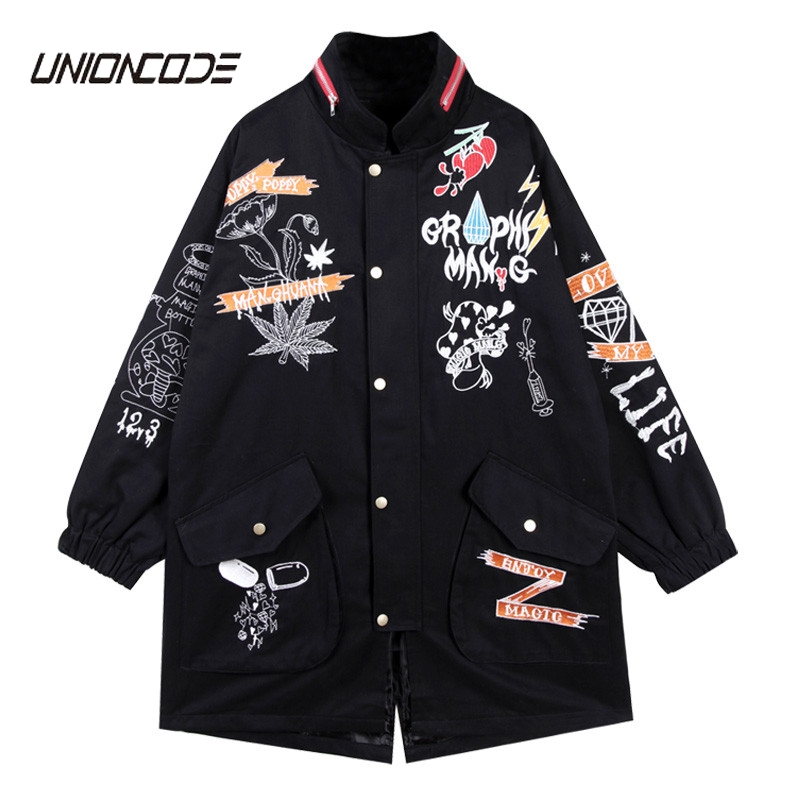 2017 Spring and Autumn large size of the BF badge patch rivet tooling coat coat female tide Embroidery Winter   Trench   Coat YQ76