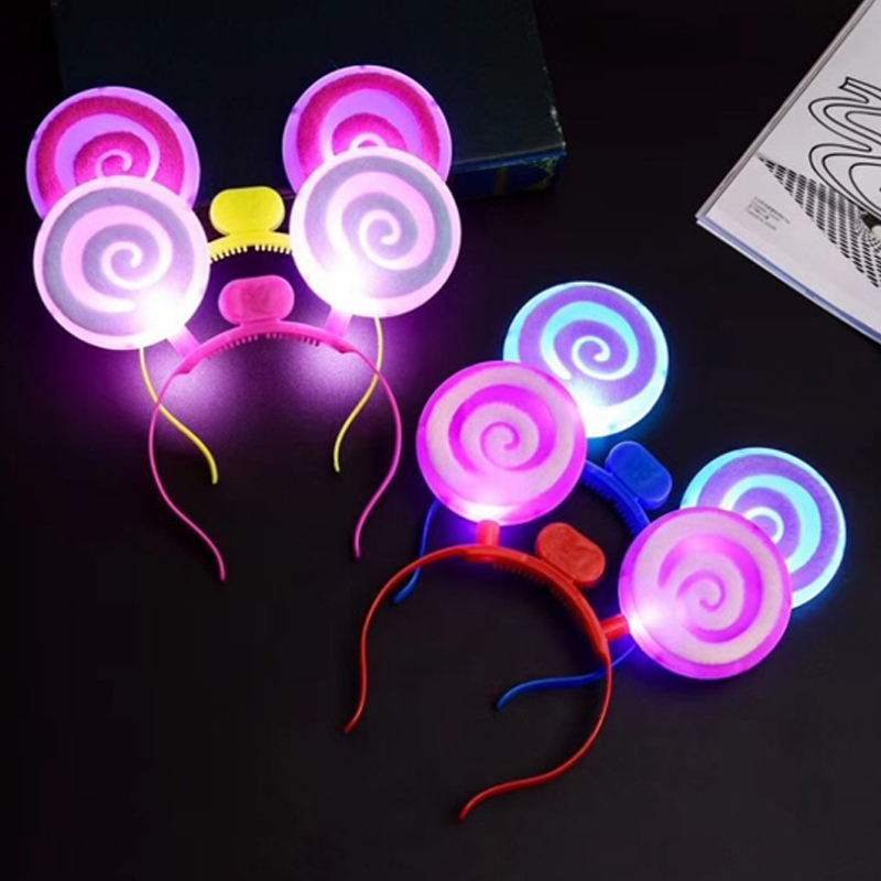 Christmas Halloween LEDFlashingGlow Headband Women Girls Lollipop Light Up Hairbands Hair Accessories Glow Party Supplies (1)