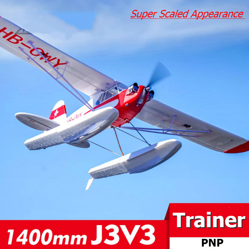 FMS RC Airplane 1400MM 1.4M J3 Cub Piper V3 Red Trainer Beginner 3S 4CH PNP Water Sea Plane Aircraft Avion J-3 (Floats optional) image