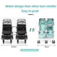 Licht Gewicht Twin Kinderwagen Baby Kinderwagen voor Twee Baby 'S Kan Zitten Kan Liggen Kinderwagen 2