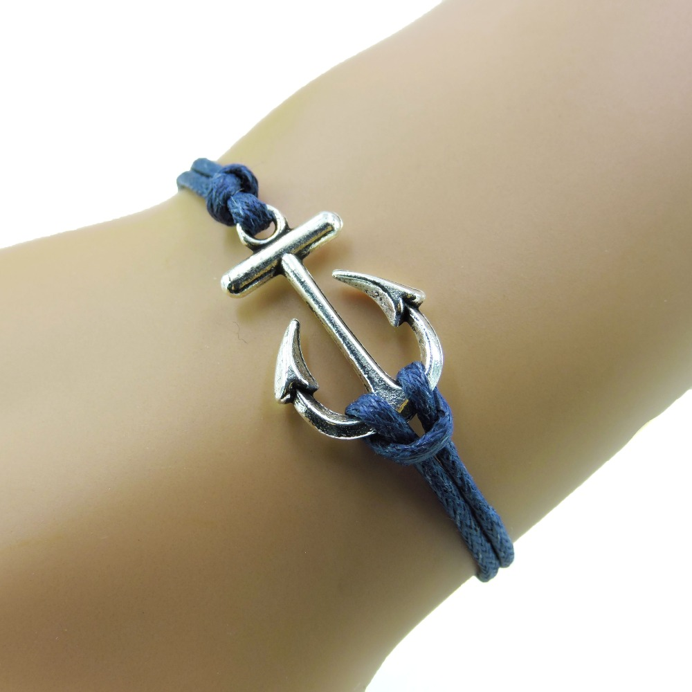 Houbian Retro Anchor Antique Charms Leather Bracelet Navy Blue Wax Cords Sailing Bracelets For Women Bangles Jewelry New In Chain Link