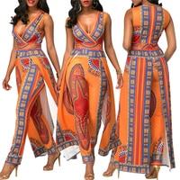 BAIBAZIN African Dresses for Women's Explosion Models 2018 Autumn Positioning Printing Orange Ethnic Pants