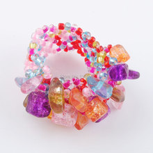 Free shipping Natural Multicolor Gem Stone Beads Stretch Finger Ring Jewelry US 6~10 IJ3023