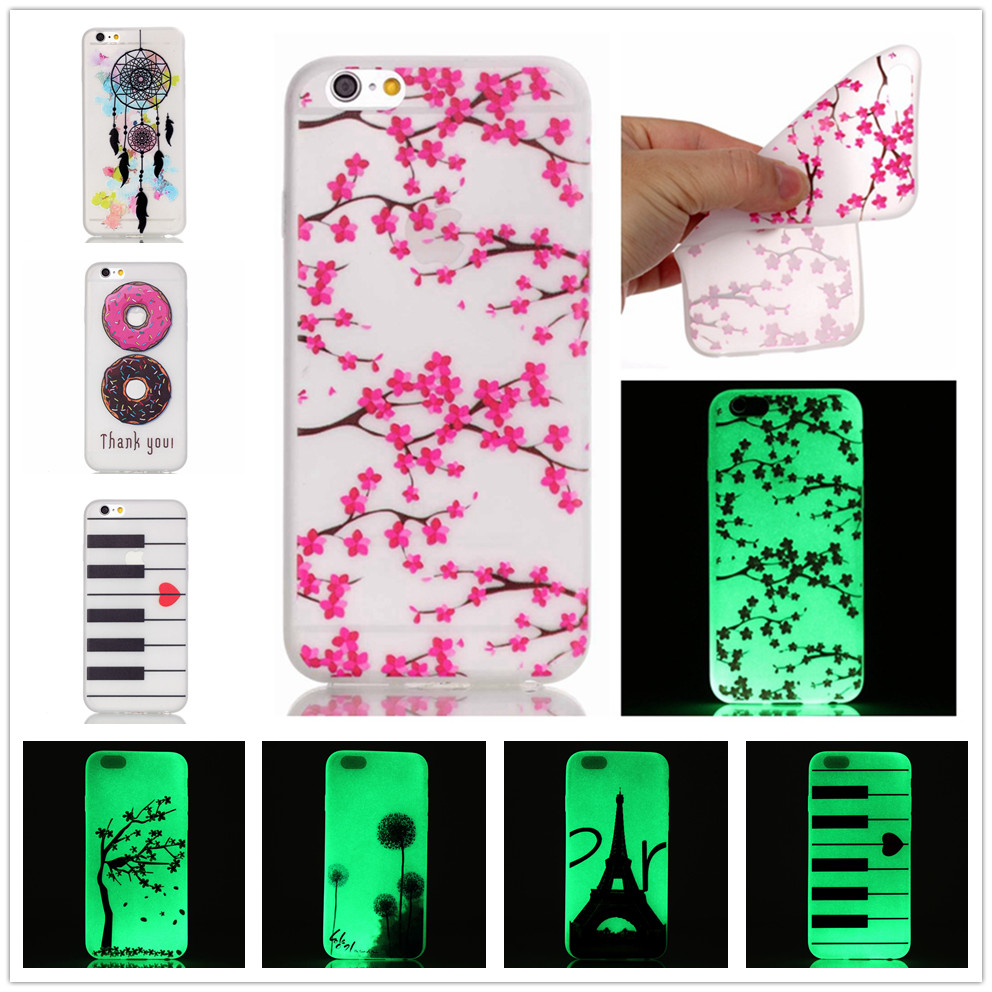 Fashion Luminous Case Slim Fluorescence Soft TPU Phone Covers for Apple iPhone 6 Plus 6S Plus Glow in the Dark Silicon Back Skin