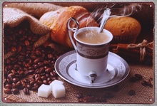 1pc Brewed Italian coffee Cappuccino Latte blended Tin Plate Sign wall plaques man cave Decoration Dropshipping metal Poster