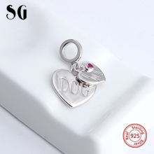 High Quality Charm I love my dog Heart Bead Silver 925 Beads Fit Authentic Pandora Bracelets DIY Pendant Jewelry For Women Gifts