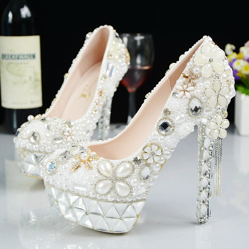 Women Fashion Glass Slipper Wedding Shoes Bridal Handmade Pearl Inlaid Diamond Flower Married White High