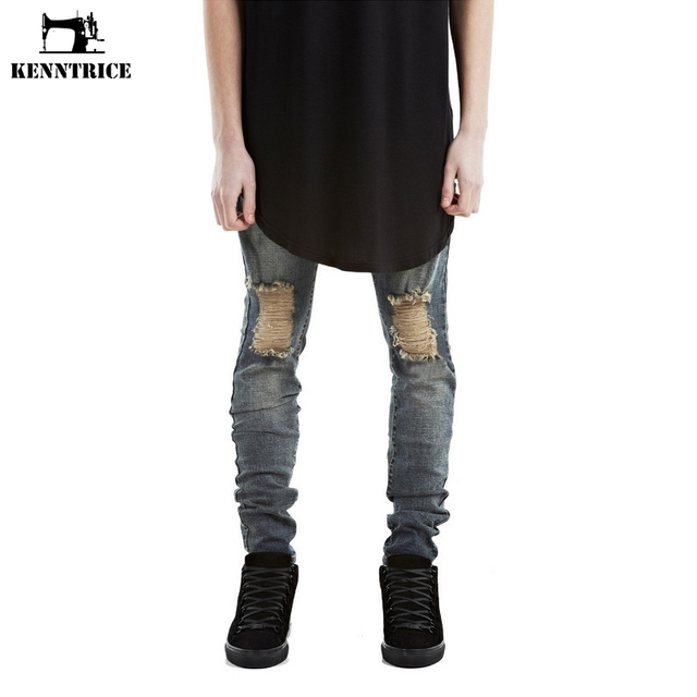7506e3adebc KENNTRICE Brand Hip-Hop Justin Bieber Skinny Ripped Distressed Jeans Men  Slim Fit Streetwear Stretch Punk Denim Pants