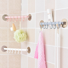 Крепкий клейкий настенный стеллаж на присоске, 6 крючков, держатель для полотенец, ванной комнаты, кухни, присоска, вешалка для ванной комнаты, мощный стеллаж для хранения с крючком